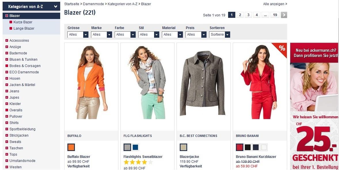 Blazer online kaufen und viele weitere Produkte auf Ackermann.ch