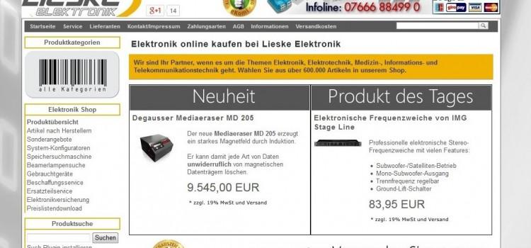 Lieske-Elektronik.de – B2B-Shop mit unfassbarer Struktur